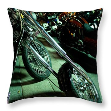 Throw Pillow featuring the photograph Long Front Fork And Wheel Of Chopper Bike At Night by Jason Rosette