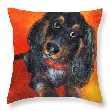 Long Haired Dachshund Dog Puppy Portrait Painting Throw Pillow by Svetlana Novikova