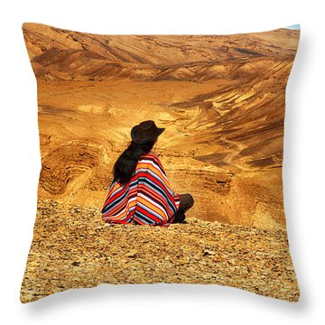 Long Haired Man In Poncho Throw Pillow