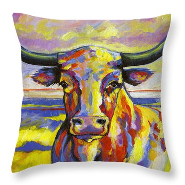 Long Horn At Sunset Throw Pillow