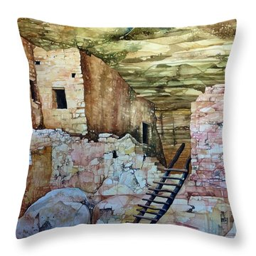 Long House, Mesa Verde National Park Throw Pillow by Lance Wurst