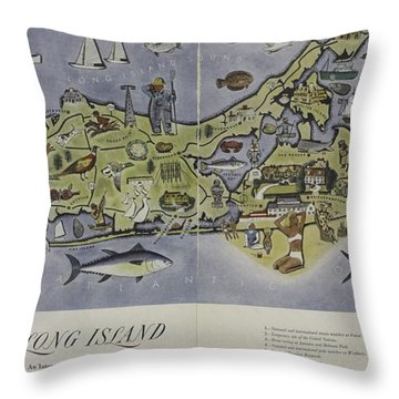 Long Island An Interpretive Cartograph Throw Pillow