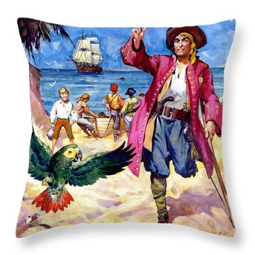 Long John Silver And His Parrot Throw Pillow by James McConnell