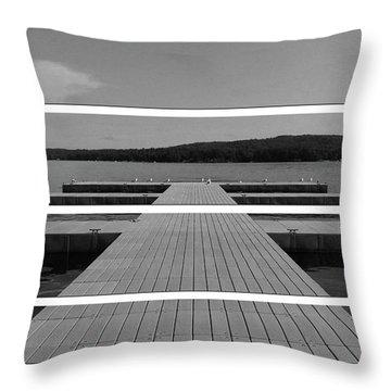 Long Lake Dock Throw Pillow