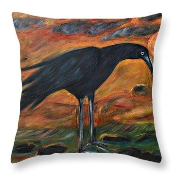 Long Legged Crow Throw Pillow