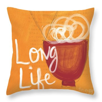 Long Life Noodle Bowl Throw Pillow by Linda Woods