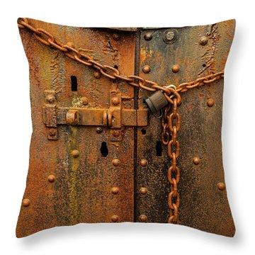 Long Locked Iron Door Throw Pillow