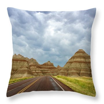 Long Lonesome Highway Throw Pillow