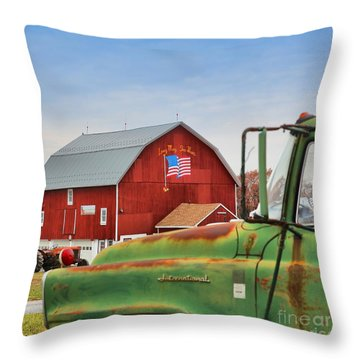 Throw Pillow featuring the photograph Long May She Wave by DJ Florek