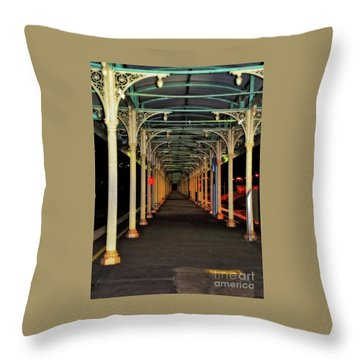 Throw Pillow featuring the photograph Long Platform Albury Station By Kaye Menner by Kaye Menner