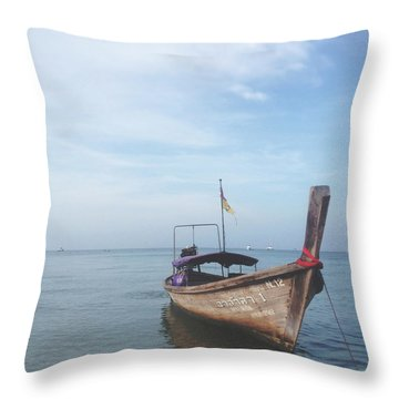 Throw Pillow featuring the photograph Long Tail Boat Stillness by Ivy Ho