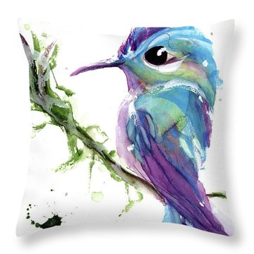 Throw Pillow featuring the painting Long-tailed Sylph by Dawn Derman