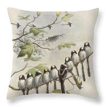 Long-tailed Tit  Throw Pillow