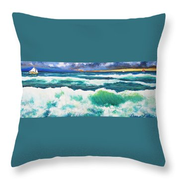 Long Thin Wave Throw Pillow by Anne Marie Brown