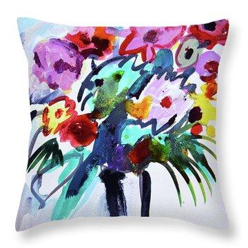 Long Vase Of Red Flowers Throw Pillow by Amara Dacer