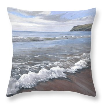Throw Pillow featuring the painting Long Waves At Trebarwith by Lawrence Dyer