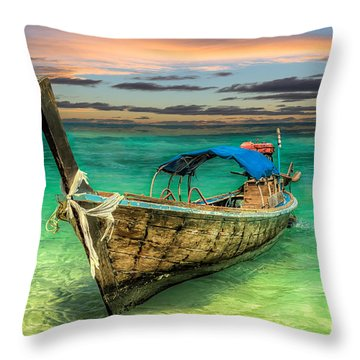 Throw Pillow featuring the photograph Longboat Sunset by Adrian Evans
