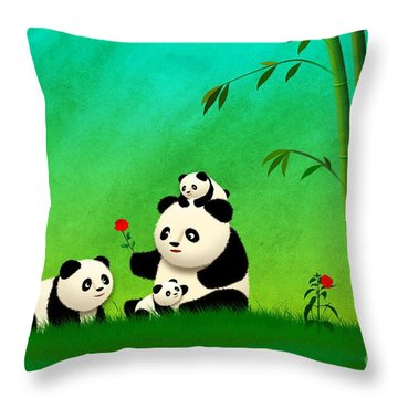 Longevity Panda Family Asian Art Throw Pillow