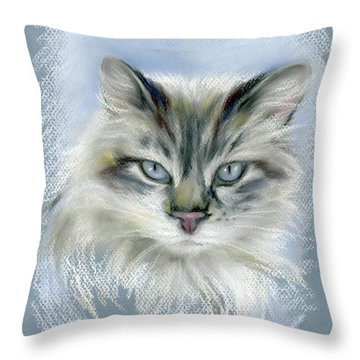 Longhaired Cat With Blue Eyes Throw Pillow