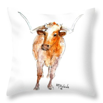 Longhorn 1 Watercolor Painting By Kmcelwaine Throw Pillow
