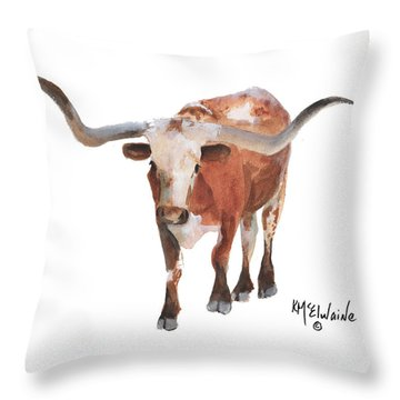 Longhorn 17 Big Daddy Watercolor Painting By Kmcelwaine Throw Pillow