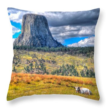 Longhorn At Devils Tower Throw Pillow