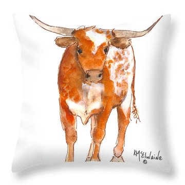 Texas Red Longhorn Watercolor Painting By Kmcelwaine Throw Pillow