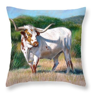 Longhorn Bull Throw Pillow