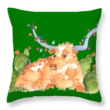 Longhorn Christmas Throw Pillow