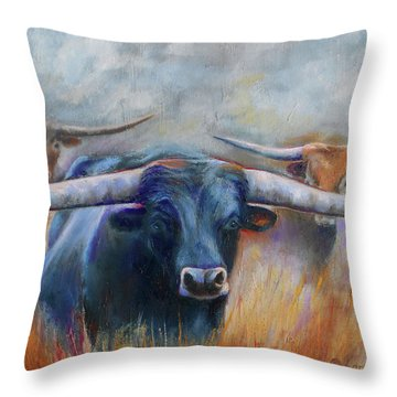 Longhorn Country Throw Pillow by Karen Kennedy Chatham