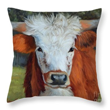 Longhorn Cow Painting II, Ms Tilly  Throw Pillow