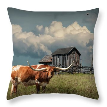 Longhorn Steer In A Prairie Pasture By Windmill And Old Gray Wooden Barn Throw Pillow