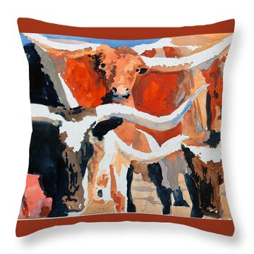 Longhorn Study #3 Throw Pillow by Ron Stephens
