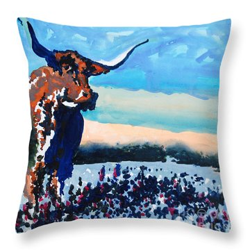 Longhorn Study #4 Throw Pillow by Ron Stephens