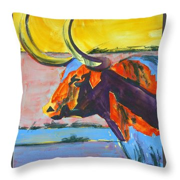 Longhorn Study#1 Throw Pillow by Ron Stephens