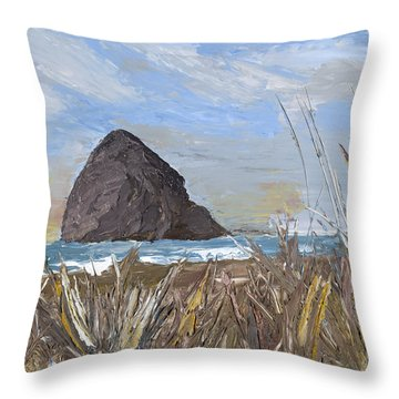 Longing For The Sounds Of Haystack Rock Throw Pillow