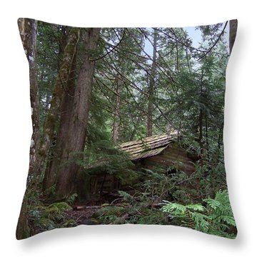 Throw Pillow featuring the photograph Longmire Cabin by Charles Robinson