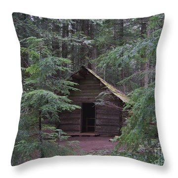 Throw Pillow featuring the photograph Longmire Log Cabin by Charles Robinson