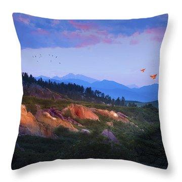 Longs Peak And Glowing Rocks Throw Pillow