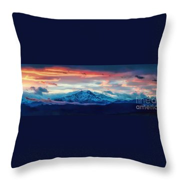 Longs Peak At Sunset Throw Pillow