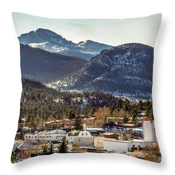 Longs Peak From Estes Park Throw Pillow