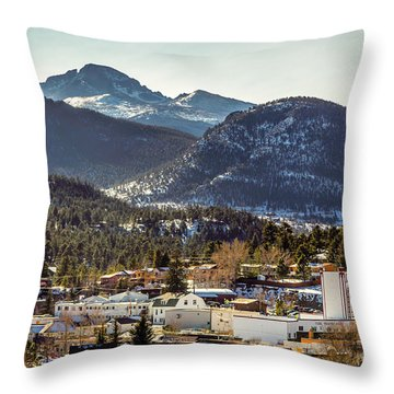 Longs Peak From Estes Park Throw Pillow
