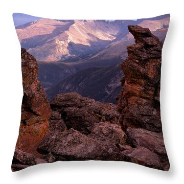 Longs Peak From Rock Cut  Throw Pillow
