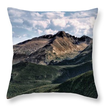 Longs Peak Throw Pillow by Jim Hill