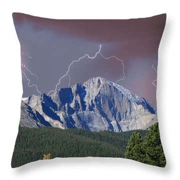 Longs Peak Lightning Storm Fine Art Photography Print Throw Pillow by James BO  Insogna
