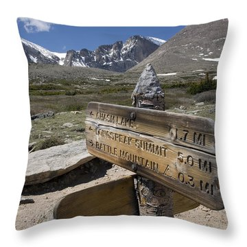 Longs Peak Seen From Chasm Lake Trail Throw Pillow