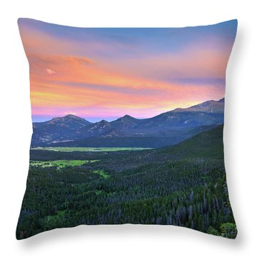 Throw Pillow featuring the photograph Longs Peak Sunset by David Chandler