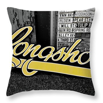 Throw Pillow featuring the photograph Longshots - Sign by Colleen Kammerer