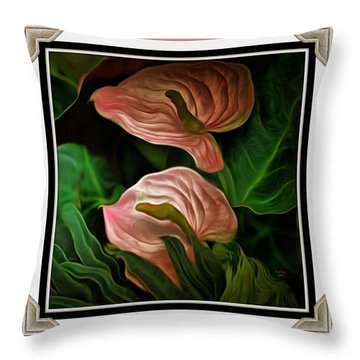 Throw Pillow featuring the mixed media Longwood Lilies by Trish Tritz