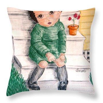 Lonley Girl On Back Step Throw Pillow
